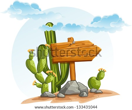 Wooden pointer with cacti in the desert. Raster copy. - stock photo