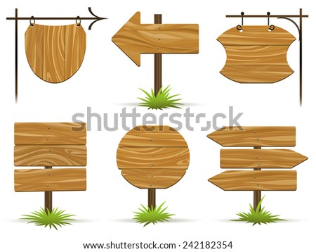 Wooden pointers and signs. Wooden plaques and pointers for information and advertising