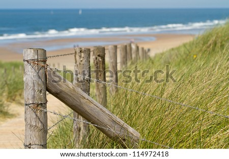 Wooden poles leading you to the sea - stock photo