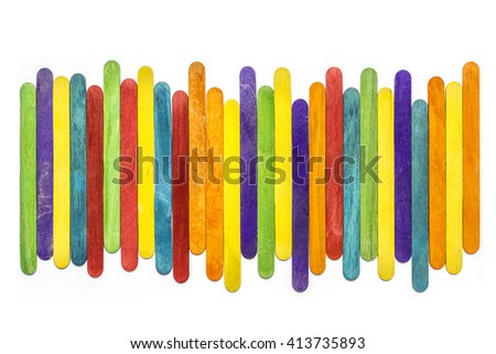 Wooden Popsicle Sticks, Colorful Ice Cream Sticks background.