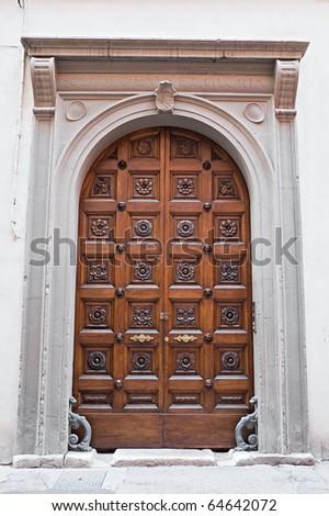 Wooden portal. - stock photo