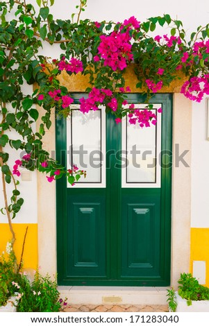 Wooden Portuguese Door Decorated with Red Bougainvillaea