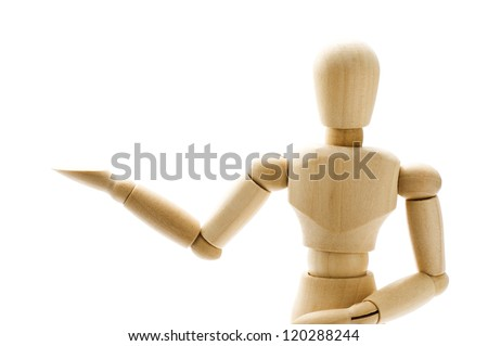 Wooden pose puppet on white background, close-up
