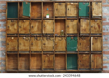 Wooden Post Boxes - stock photo