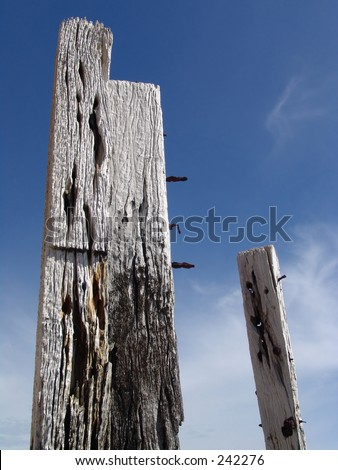 Wooden Posts and Blue Sky