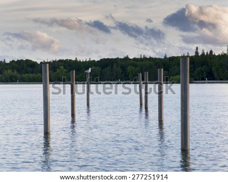Wooden posts in the lake, Lake Winnipeg, Riverton, Hecla Grindstone Provincial Park, Manitoba, Canada