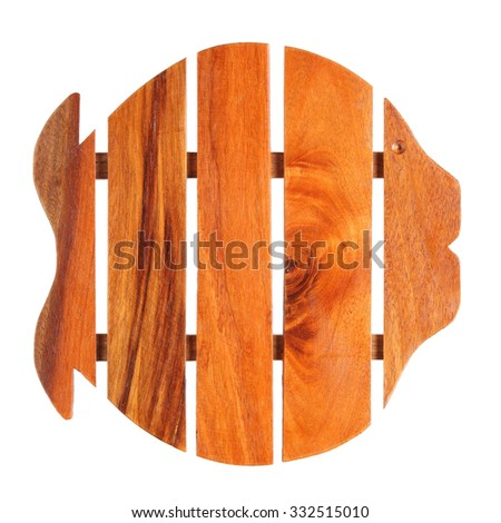 wooden pot stand in fish shape isolated on white background