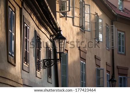 wooden prague windows - stock photo