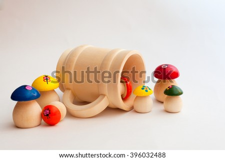 wooden product mushrooms and a mug