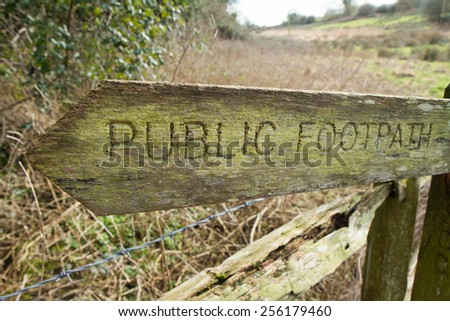 Wooden Public Footpath Sign - stock photo