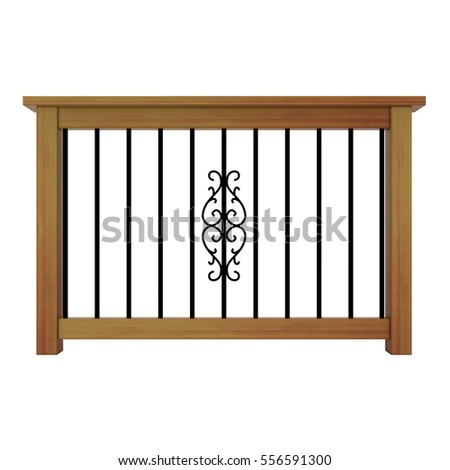 Wooden railing with decor metal balusters 3d model