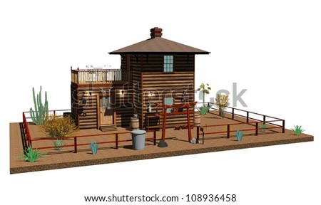 Wooden Ranch 3D Architecture - stock photo