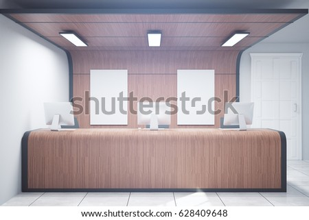 Wooden reception desk with two blank posters. Mock up, 3D Rendering