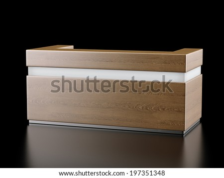 Wooden reception, exhibition counter - stock photo
