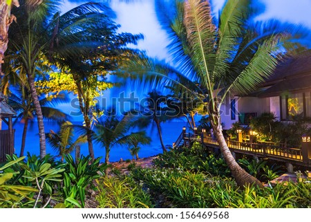 Wooden resort during evening at Thailand - stock photo