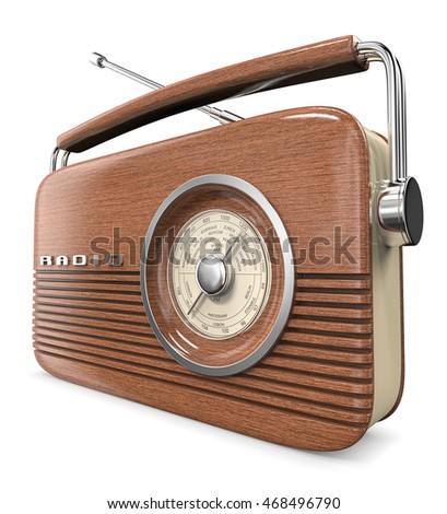 Wooden Retro Radio. 3D render of a Classic Retro Style Radio.  Wood front.