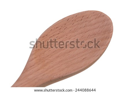 wooden rice ladle made from siamese rosewood isolated on white background