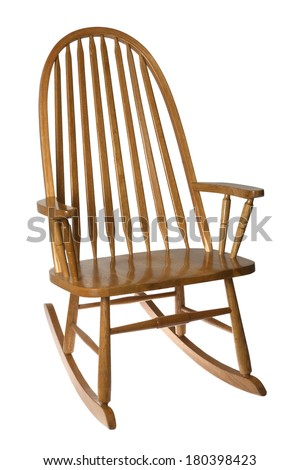 Wooden rocking chair on white background