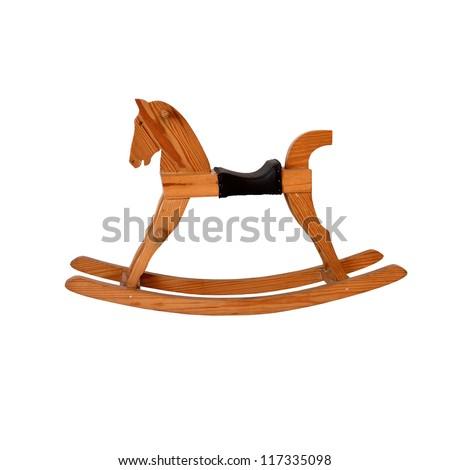 wooden rocking horse chair children on white background - stock photo