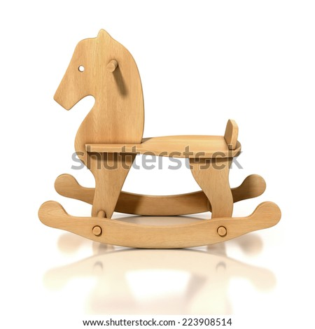 Wooden Rocking Horse Chair 3d Illustration Stock Photo
