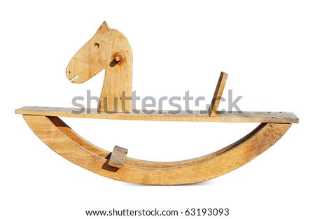 Wooden rocking horse isolated. Clipping path included. - stock photo