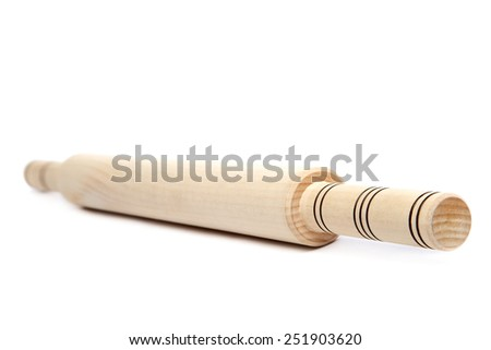 Wooden rolling pin isolated on white background. - stock photo