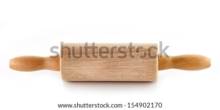 Wooden rolling pin on a white background - stock photo