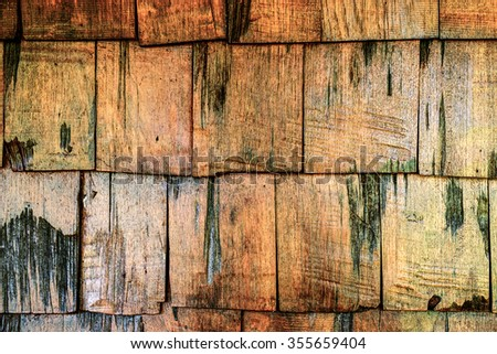 Wooden roof old brown color - stock photo