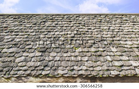 wooden roof tiles - stock photo