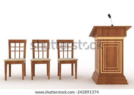Wooden Rostrum Stand with Microphone and three chairs on a white background  - stock photo