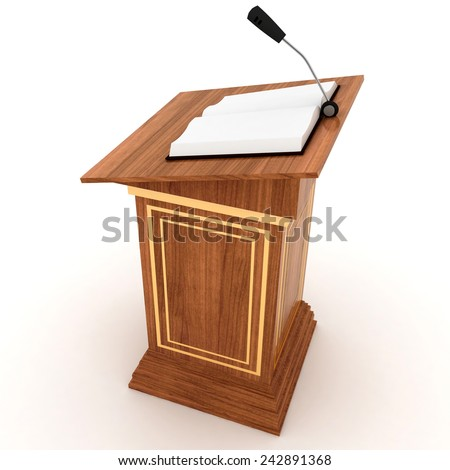Wooden Rostrum Stand with Microphone  on a white background  - stock photo