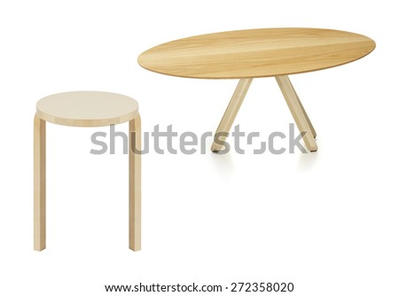 wooden round table and stool isolated on white - stock photo