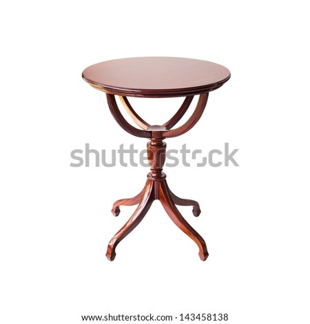 wooden round table isolated on white background,with clipping path - stock photo