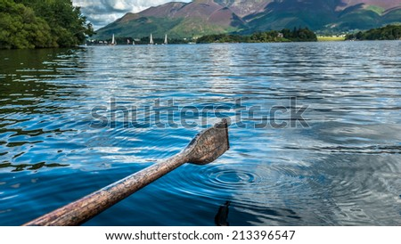 Wooden rowing oar on Lake Derwentwater in the English lake District