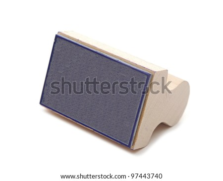 Wooden rubber stamp isolated on white background - stock photo