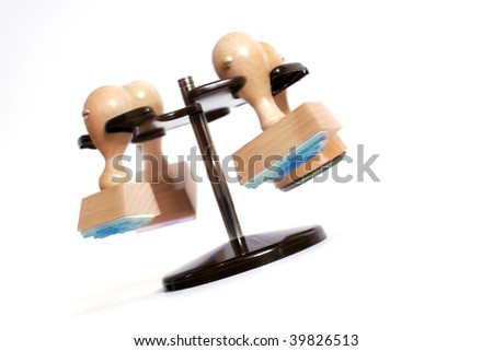wooden rubber stamps, merry-go-round - stock photo