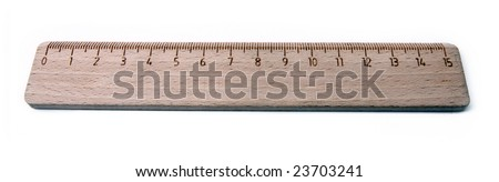 wooden ruler, isolated on a white background - stock photo