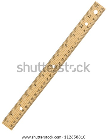 Wooden Ruler Isolated On White - stock photo