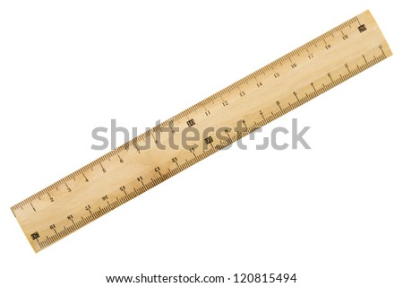 Wooden ruler isolated on white background, close-up - stock photo