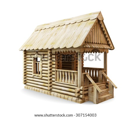 Wooden rural house isolated on white background. 3d illustration.