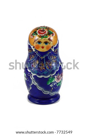 Wooden Russian Doll in blue isolated on white