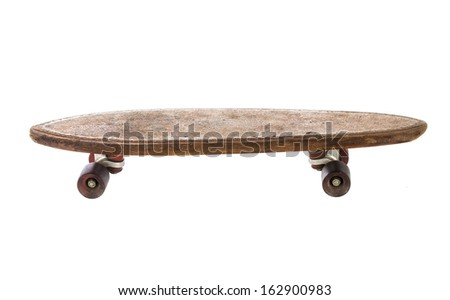 Wooden 70's skate board on a white background