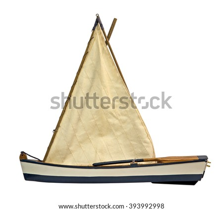 Wooden sailboat isolated on white - stock photo