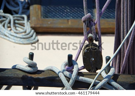 Wooden sailboat rigging and ropes
