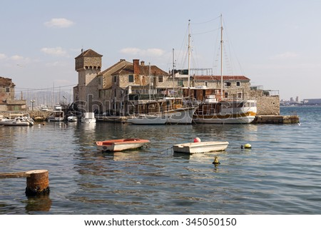 Wooden sailing boats in Kastel Gomilica one of seven settlement of town Kastela in Croatia