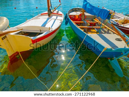 wooden sailing boats in Spetses island in Greece - stock photo