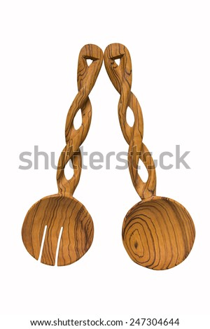 Wooden Salad Spoons - stock photo
