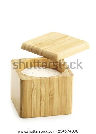 Wooden Salt Box Open - stock photo