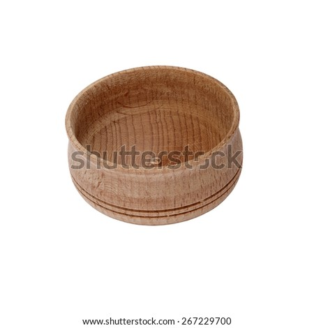 Wooden salt cellar isolated on white background