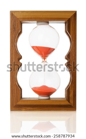 wooden sand glass isolated on a white background